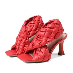 Frauen PU Stöckel Absatz Sandalen Absatzschuhe Peep Toe Quadratischer Zeh mit Hohl-out Geflochtenes Band Schuhe