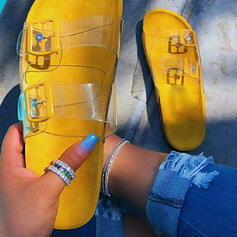Frauen PU Flascher Absatz Sandalen Flache Schuhe Peep Toe Pantoffel mit Schnalle Hohl-out Schuhe