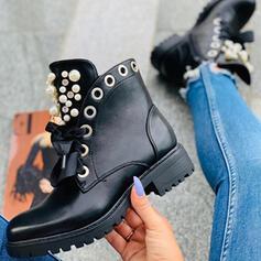 Frauen PU Niederiger Absatz Martin Stiefel Round Toe mit Strass Perle Reißverschluss Zuschnüren Schuhe