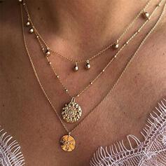 Jahrgang Geschichtet Legierung Kristall Frauen Halsketten 3 PCS