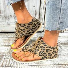 Frauen PU Flascher Absatz Sandalen Peep Toe Flip Flops mit Tierdruckmuster Zuschnüren Schuhe