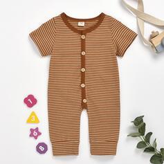Baby Button Striped Cotton Jumpsuit