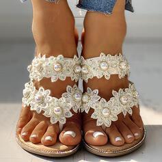 Frauen PU Flascher Absatz Pantoffel mit Nachahmungen von Perlen Blume Schuhe