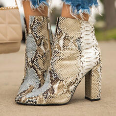 Frauen PU Stöckel Absatz Sandalen Absatzschuhe Peep Toe Quadratischer Zeh mit Tierdruckmuster Schuhe