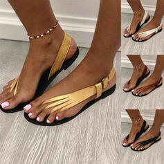 Women's PU Flat Heel Sandals With Buckle Solid Color shoes
