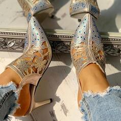 Frauen PU Stöckel Absatz Absatzschuhe mit Strass Schnalle Schuhe