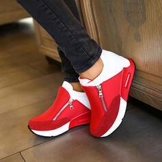 Frauen Veloursleder Lässige Kleidung Outdoor Sportlich Wandern mit Reißverschluss Spleißfarbe Schuhe
