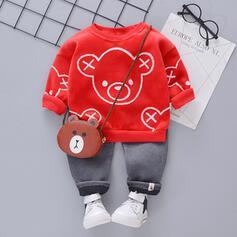 2-pieces Baby Girl Bear Animal Print Cotton Set