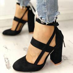 Frauen Veloursleder Stämmiger Absatz Absatzschuhe Geschlossene Zehe mit Zuschnüren Schuhe