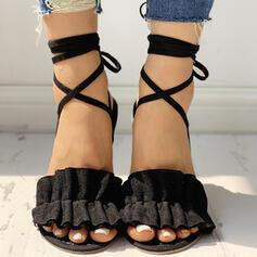 Frauen Stoff Niederiger Absatz Sandalen Peep Toe Pantoffel mit Einfarbig Verband Schuhe