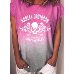 Figur Gradient Druck Rundhalsausschnitt Kurze Ärmel T-Shirts