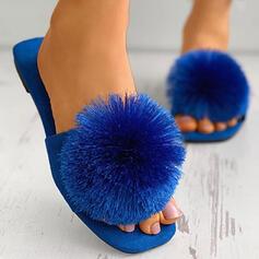 Frauen Veloursleder Flascher Absatz Peep Toe Pantoffel Quadratischer Zeh mit Quaste Schuhe