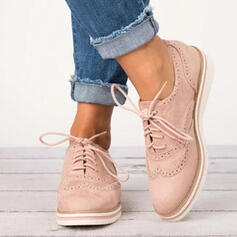 PU Flascher Absatz Flache Schuhe mit Zuschnüren Schuhe