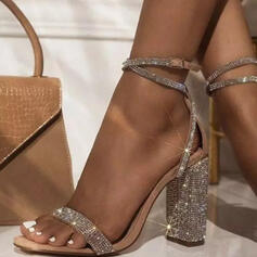 Women's Leatherette Chunky Heel Sandals Pumps Peep Toe With Rhinestone Buckle Hollow-out shoes