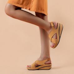 Frauen PU Keil Absatz Sandalen Keile Peep Toe mit Schnalle Einfarbig Schuhe