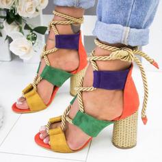 Frauen PU Stämmiger Absatz Sandalen Absatzschuhe Peep Toe mit Zuschnüren Schuhe