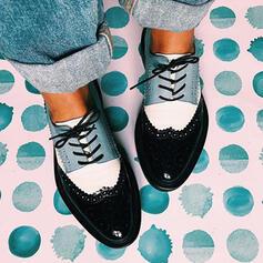 Frauen PU Flascher Absatz Flache Schuhe mit Zuschnüren Spleißfarbe Schuhe