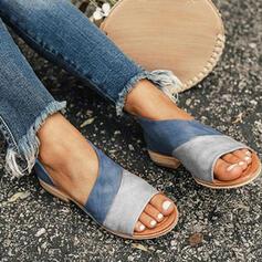 Frauen PU Flascher Absatz Sandalen Flache Schuhe Peep Toe Pantoffel mit Hohl-out Spleißfarbe Schuhe