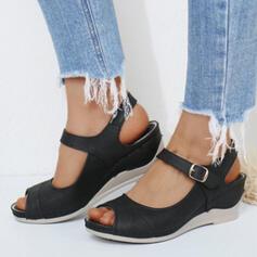 Frauen Mikrofaser Keil Absatz Sandalen Plateauschuh Keile Peep Toe Heels mit Schnalle Einfarbig Schuhe
