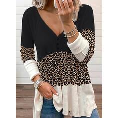 Color Block Leopard V-Neck Long Sleeves Raglan Sleeve Casual Blouses