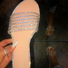 Frauen PU Flascher Absatz Sandalen Peep Toe Pantoffel mit Strass Schuhe
