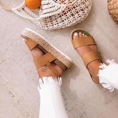 PU Flascher Absatz Sandalen Flache Schuhe Plateauschuh Peep Toe mit Andere Schuhe