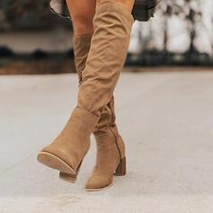 Frauen Veloursleder Stöckel Absatz Kniehocher Stiefel mit Reißverschluss Schuhe