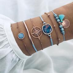 Exotisch Boho Legierung Flechtschnur mit Quasten Juwel Armbänder (Satz 6)