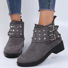 Women's Suede Chunky Heel Boots Ankle Boots Low Top Round Toe With Rivet Buckle Solid Color shoes