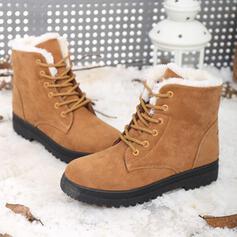 Frauen Veloursleder Niederiger Absatz Schneestiefel Winterstiefel mit Zuschnüren Schuhe