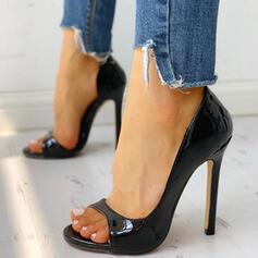 Frauen PU Stöckel Absatz Absatzschuhe Peep Toe Slingpumps Schuhe