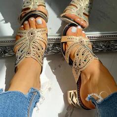 Frauen PU Stämmiger Absatz Sandalen Absatzschuhe Peep Toe Pantoffel Heels mit Strass Hohl-out Schuhe