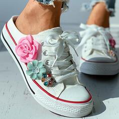 Frauen Leinwand Flascher Absatz Flache Schuhe Round Toe Espadrille Maultiere mit Applikationen Zuschnüren Schuhe