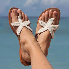 Frauen PU Flascher Absatz Sandalen Flache Schuhe Peep Toe Flip Flops Pantoffel Round Toe mit Strass Schuhe