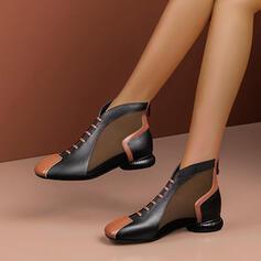 Frauen PU Flascher Absatz Stiefel Martin Stiefel mit Spleißfarbe Schuhe