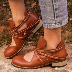 Frauen PU Niederiger Absatz Flache Schuhe Stiefel Stiefelette Low Top Round Toe mit Zuschnüren Hohl-out Einfarbig Schuhe