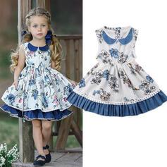 Baby Mädchen Geburtstag Blumen Druck Baumwolle Kleid