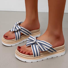 Frauen Stoff Flascher Absatz Sandalen Flache Schuhe Peep Toe Pantoffel Round Toe mit Bowknot Gestreift Schuhe
