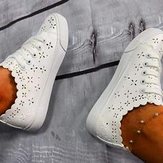 Frauen PU Flascher Absatz Flache Schuhe Low Top mit Zuschnüren Hohl-out Schuhe