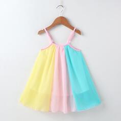 Mädchen Colorblock Chiffon Kleid