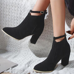 Women's PU Chunky Heel Ankle Boots Pointed Toe With Buckle Solid Color shoes