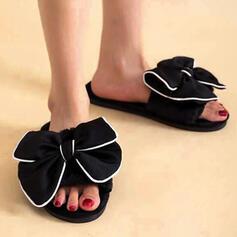 Frauen Stoff Flascher Absatz Sandalen Flache Schuhe Peep Toe Pantoffel mit Bowknot Hohl-out Schuhe