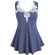 Solid Lace Strap Sleeveless Casual Tank Tops