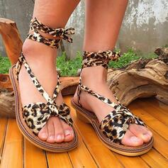 Frauen Stoff Stämmiger Absatz Sandalen Absatzschuhe Peep Toe Heels mit Tierdruckmuster Zuschnüren Blume Schuhe