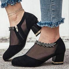 Frauen Stoff Mesh Stämmiger Absatz Stiefel Stiefelette Low Top Round Toe mit Stich Spitzen Schuhe