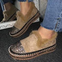 Frauen Veloursleder Flascher Absatz Flache Schuhe Round Toe Schlüpfen mit Pailletten Kunstpelz Schuhe