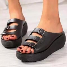 Frauen PU Keil Absatz Sandalen Plateauschuh Keile Peep Toe Pantoffel mit Schnalle Hohl-out Einfarbig Schuhe