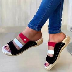Frauen PU Keil Absatz Sandalen Peep Toe Pantoffel mit Hohl-out Spleißfarbe Schuhe