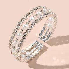 Glänzende Attraktiv Zarte Legierung Strasssteine Faux-Perlen mit Strasssteine Faux-Perlen Armbänder