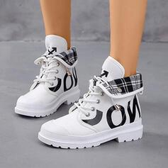 Frauen Leinwand PU Niederiger Absatz Geschlossene Zehe Stiefel Martin Stiefel High Top Round Toe mit Zuschnüren Schuhe